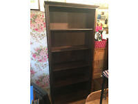 Bookcase , with 5 shelves , 3 are adjustable . Size W 35in D 13in H 76in. Free Local Delivery.