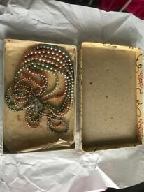 Boxed vintage 40/50s multi pearls