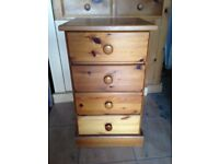 LARGE SOLID PINE BEDSIDE TABLE WITH FOUR DEEP DRAWS VERY GOOD USED CONDITION FREE LOCAL DELIVERY