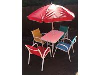 Kids garden furniture patio set with table, chairs and parasol