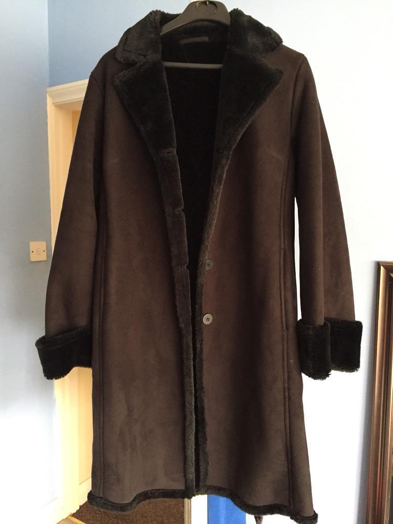 NEXT BLACK SUEDE COAT - size 8
