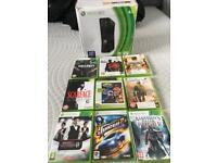 Xbox 360 slim w20gb hard drive + 9 games