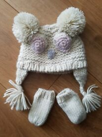 NEXT baby girl hat&mittens Lovely