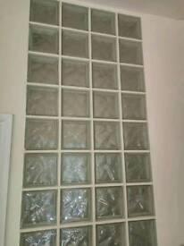 Glass blocks/bricks transparent 19x19x8 cm wave