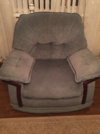 Three piece suite and 2 armchairs