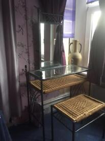 Gothic style wrought iron dressing table & stool