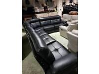 Large black leather air corner sofa