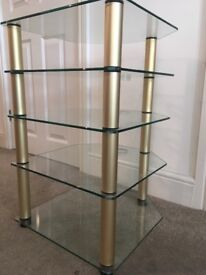 Glass hi fi stand 65 cm high and 41 cm wide. 44cm depth.
