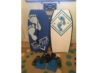 2 Brand New Bodyboards, Fins, Shoes & Gloves