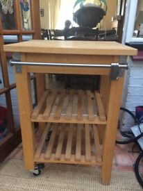 Wooden butchers block trolley