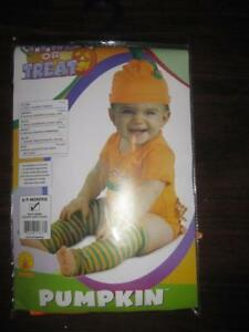 Rubies Costume Newborn Pumpkin Infant Bodysuit, Green / Orange, 6-9 Month Boy / Girl. Striped Leg Warmer. NEW