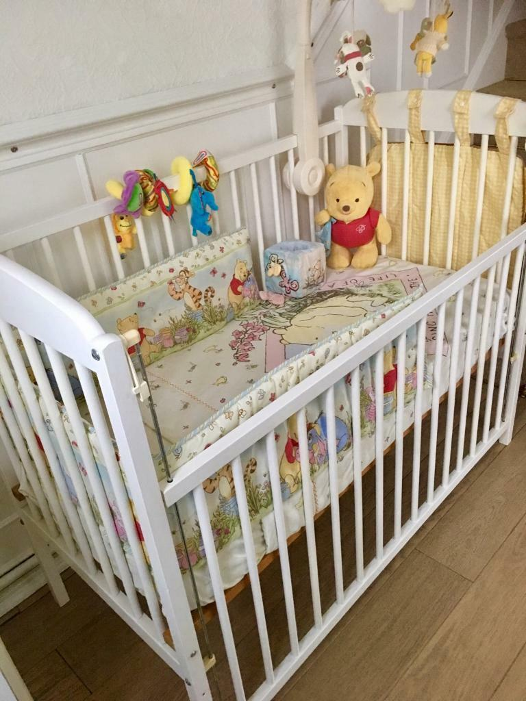 Beautiful White Baby Cot With Extras.