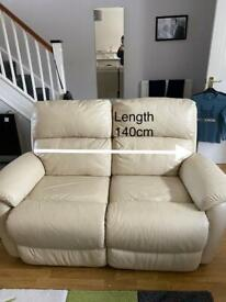 2 x 2-seater sofas FULLY ELECTRIC RECLINING cream leather