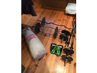 Weights bench, sit up machine/bench and other gym equipment