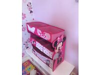 Minnie Mouse toy storage Minnie Mouse curtains and single bed cover
