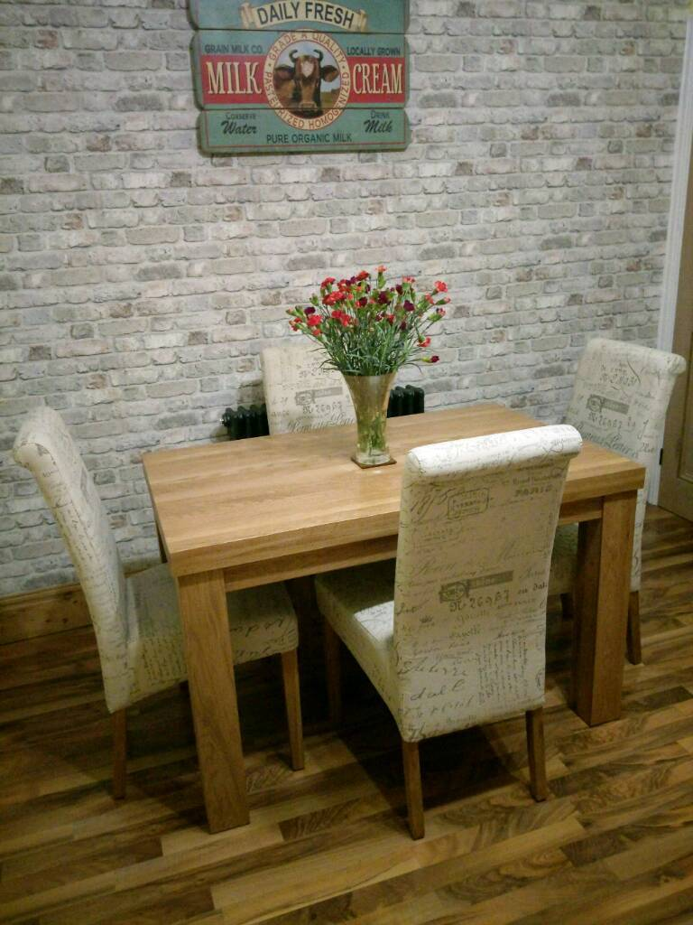 Oak Furniture Land Solid Dining Table And Four Chairs