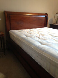 lovely wooden double bed -sleigh style - £160 ono