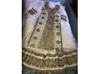 Indian/pakistani registry/engagement outfit - White & Antique gold