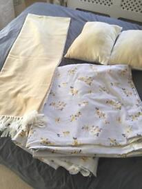 Pair of NEXT curtains in ochre and grey with matching throw and other matching accessories