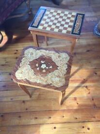 2 marquetry musical tables