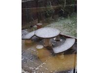 Very Detailed Vintage Concrete Garden Table, Benches and Stools