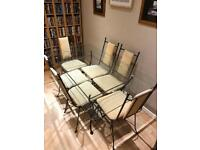 High Quality Glass/metal table with 6 Chairs