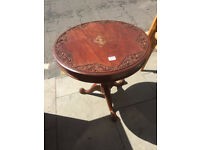 Side Table with carved wooden design . feel free to view Diameter 24 in Height 23 in