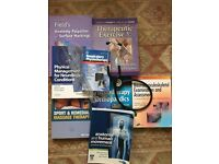 Physiotherapy textbooks (eight total), great stethoscope and goniometer