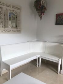 White bench seat with storage in seats AS NEW CONDITION