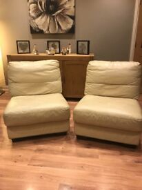 DFS cream leather chairs / two seater settee sofa