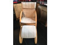 Chair and Footstool for sale cream fabric pine frame in good condition