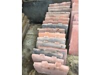 Antique red redland clay roof tiles: 16 tiles, each one measures 21cm x 17cm