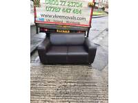 2 seater sofa in brown leather £75