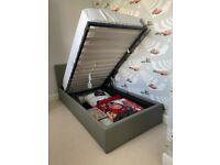 Grey single ottoman bed