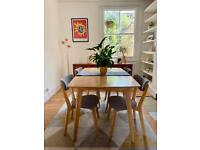 120cm Dining Table With 4 Cushion Seat Chairs And Bench