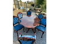 Italian inlay blue velvet 6 seater dining table
