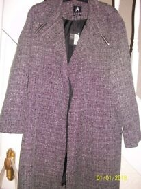 primark grey check coat size 14/16 BNWT £25