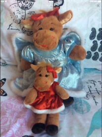BUILD A BEAR CHRISTMAS MUM AND DAUGHTER MOOSE WITH OUTFITS