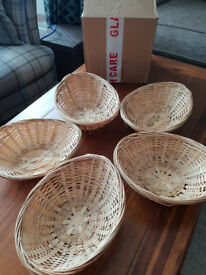9 Oval Natural Wicker Baskets- Brand New
