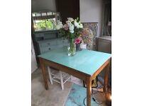 Vintage Dining Kitchen Oak Table Desk Formica Top