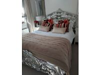 Hand calved silver leaf double bed frame £250