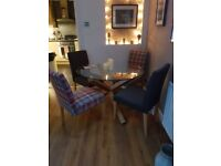 Dining table and chairs - Round glass and wood table with 4 Next dining chairs for sale £250