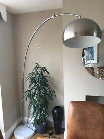RETRO GENUINE MARBLE BASE ARC FLOOR LAMP- CURVED- LOAF- VINTAGE- 70s