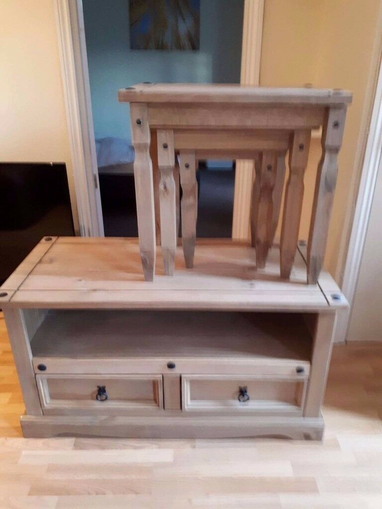 6 month old tv cabinet and tables. Matching