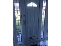 White UPVC Door and side panels , 1440 & 2030 overall height
