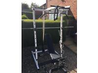 Pulley weights cage with cast weights and attachments and heavy duty bench.
