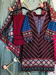 3 pcs premium quality khaddar suits with pashmina shawls.