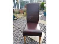 Pair of real leather dining chairs