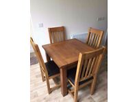 Solid Oak Dining Table and Chairs, 3ft Square