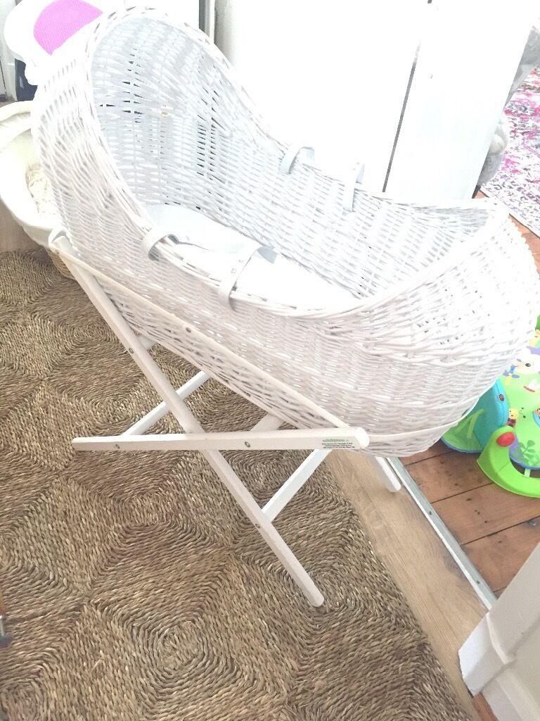White wicker egg shape Moses basket
